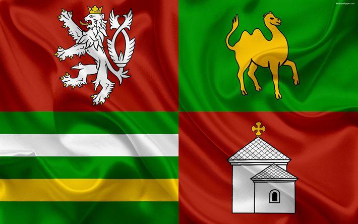 Download wallpapers Flag of the Pilsen Region, silk flag, 4k, official symbols, flags of administrative units, Czech Republic, Plze???? Region