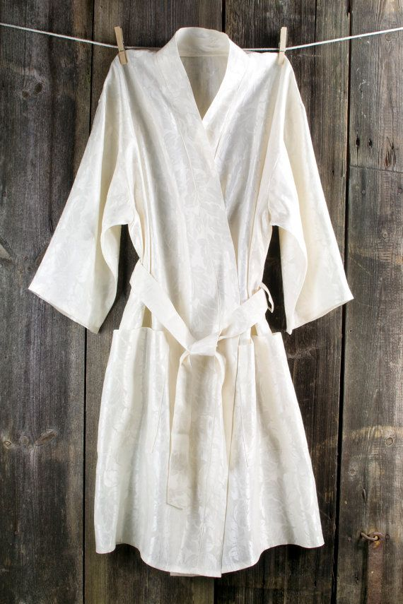 Bath robe  natural ivory women linen / viscose by LinumStudio, $64.00