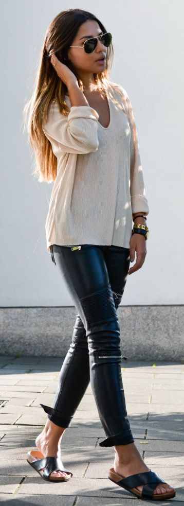 sweater Zara | leather pants Zara | shoes H&M