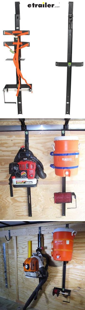 Easily transport your landscaping equipment in your enclosed trailer with this unique rack. Holds your backpack blower; a 3- to 5-lb spool of trimmer line; and a round, 3- to 5-gallon cooler or pesticide sprayer.