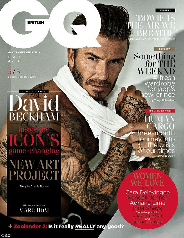 The tattooed hunk: David Beckham is seen in various guises for a special edition of GQ magazine, featuring five different covers of the former footballer