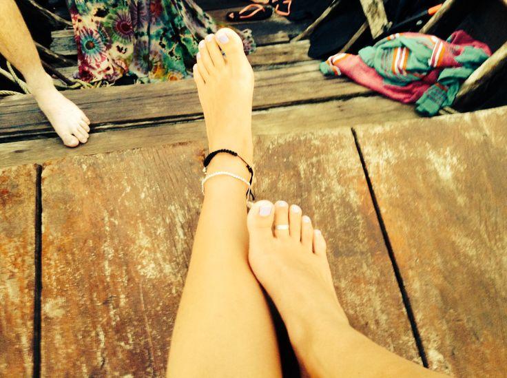 Feet. Toe ring. Hippy sarong. Taxi boat. Phi phi ❤️