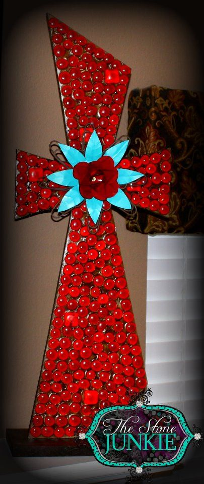 Large Red Cross on stand with metal turquiose flower by Stone Junkie