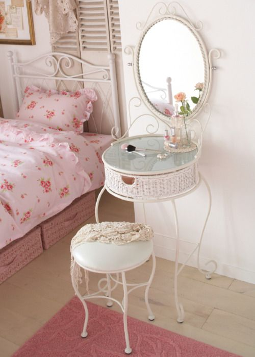 I need to get my vanity to be that small. Lol.  Shabby Chic Cottage Vanity!  S ℎ a b b y . C ℎ i c
