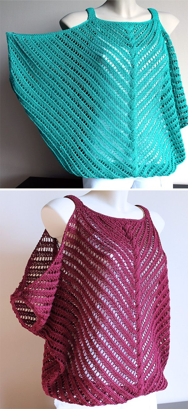 Free Knitting Pattern for Flirt Top - Lace pullover with cold shoulder sleeves and a center cable. There isn't a picture of a person wearing this so the sleeves are difficult to see but you can see it hanging down in the red version. Pattern stitch is an 8 row repeat. Chart. Sizes 36/38 (40/42) 44/46. Designed by Szilvia Emri. Sport weight yarn. Available in English and Hungarian.