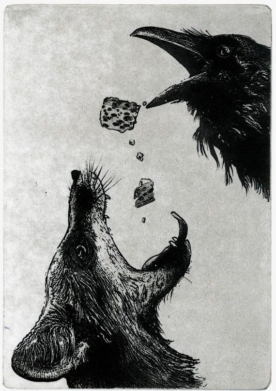 """Artwork by Larry Vienneau.  This reminded me of """"The Fox, the Crow and the Cookie"""" by mewithoutYou.  One of my very favorite bands."""