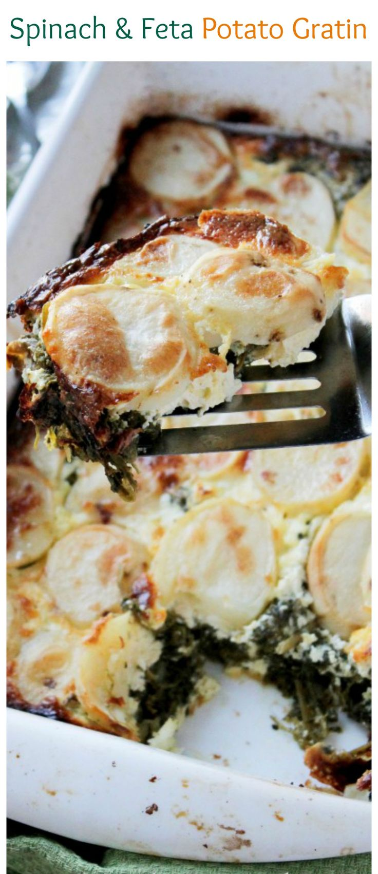 Layers of sliced potatoes filled with a delicious mixture of spinach and feta cheese. Our favorite potato gratin dinner!