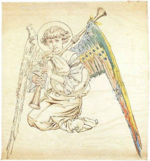 Angel drawn by Jan Matejko (1838-1893), Krakow