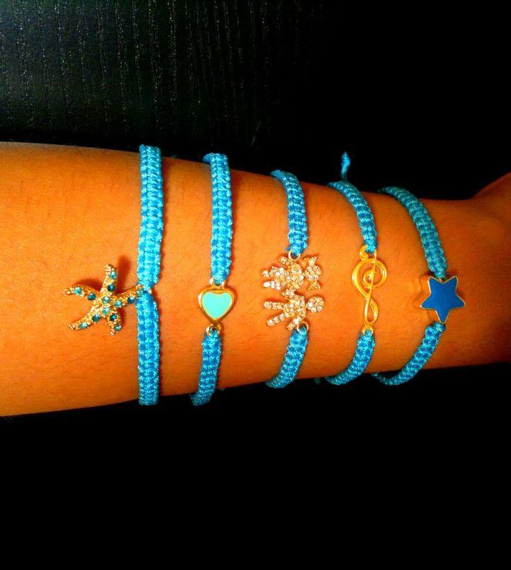 blue macrame bracelets