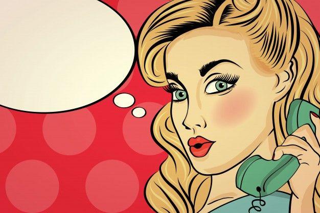 Mujer sorprendida pop art hablando por teléfono retro Vector Gratis