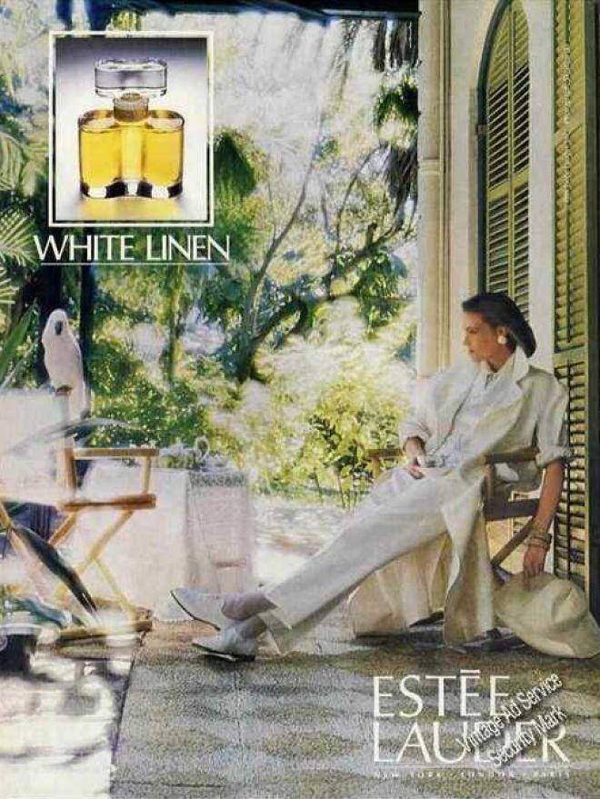 Vintage Estee Lauder White Linen perfume ad (1986)