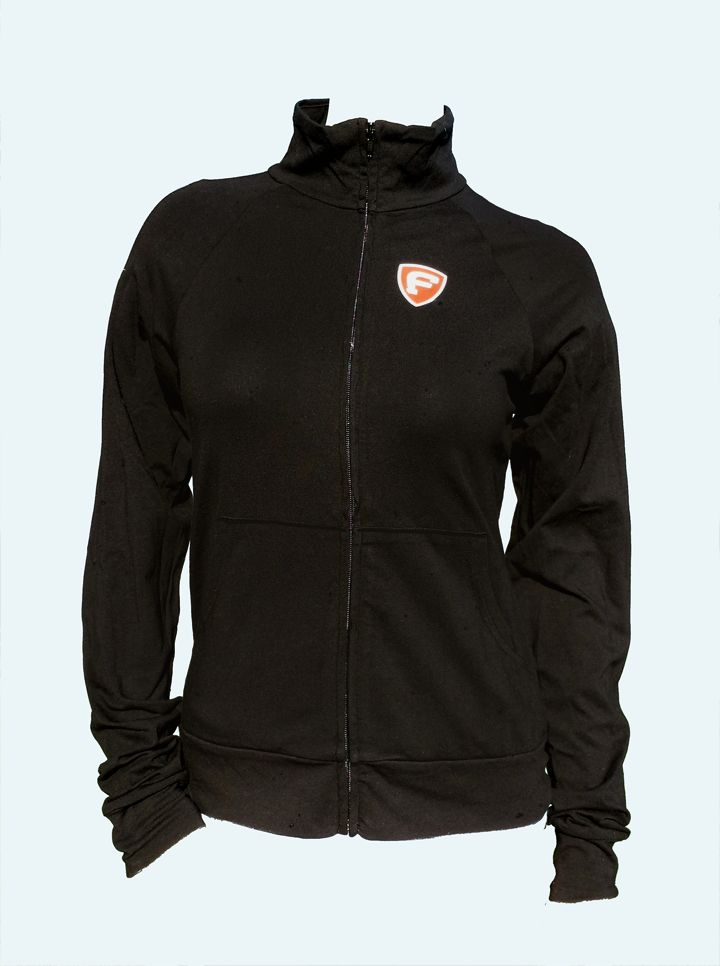 Fat Athlete 95% Cotton 5% Spandex Cadet Jacket - $39.99 -  The stand-up cadet collar and lightweight cotton/ spandex material of this sporty jacket make it a versatile style for exercise enthusiasts or for a lightweight everyday option. http://www.fatathlete.com/index.php/products/long-sleeve/ladies-cadet-jacket-detail