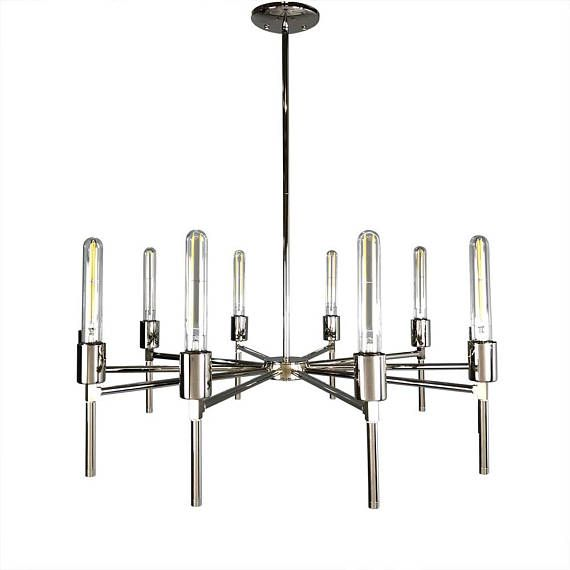 $800. . . Lead Time: 1 Week The Regina Chandelier is a beautiful round statement piece well suited to styles traditional to midcentury to modern. Its matching or color adornments add a touch of personalization to your space, but even better, the adornments are interchangeable so that change the look of the fixture is as easy as changing a light bulb. The adornments unscrew and can be replaced with ease.    Measurements - Diameter: 31 in - Height: 14 in - Overall Height: 20-32 in - Weight: 11…
