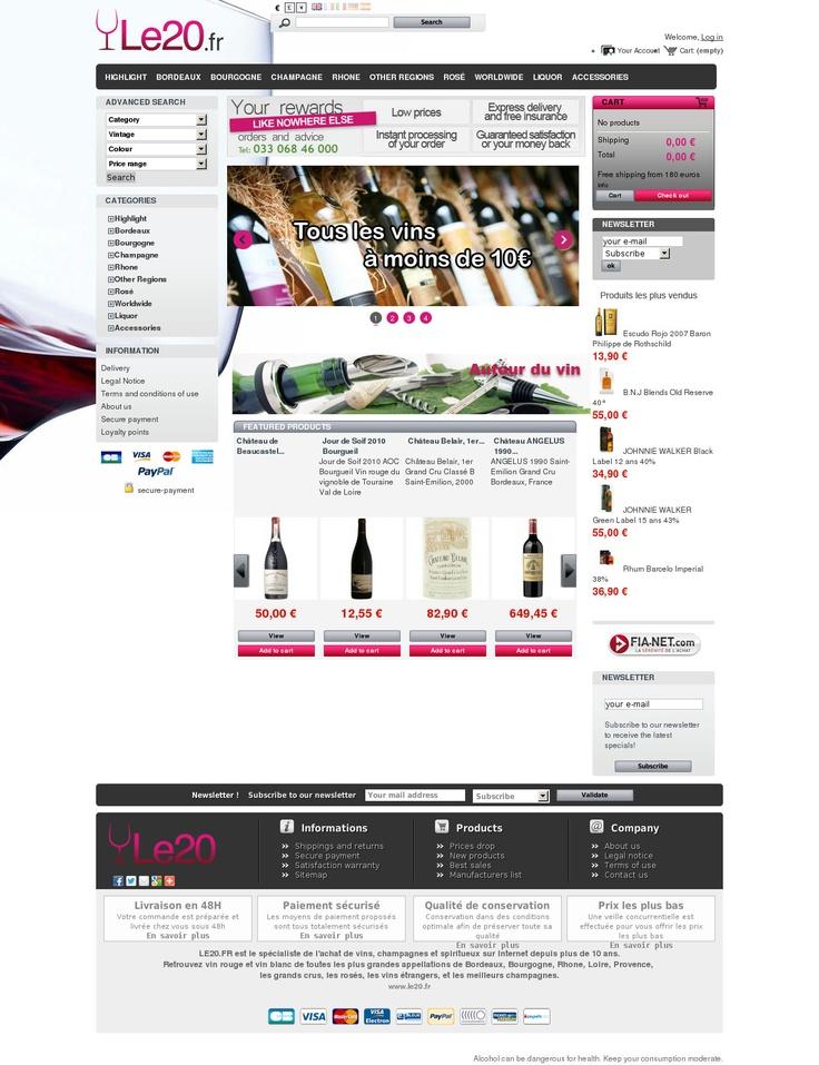 Le20.fr - Achat Vente Vins, Champagnes et Spiritueux : caviste en ligne.