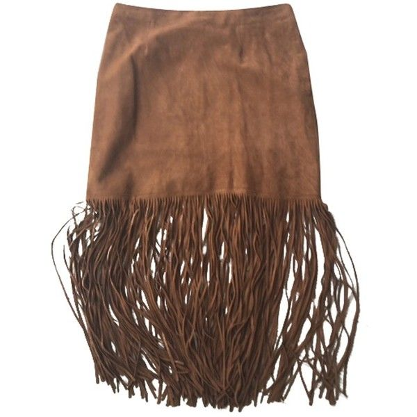 Pre-owned skirt ($220) ❤ liked on Polyvore featuring skirts, brown, brown skirt, long brown skirt, long fringe skirt, brown fringe skirt and fringe skirts