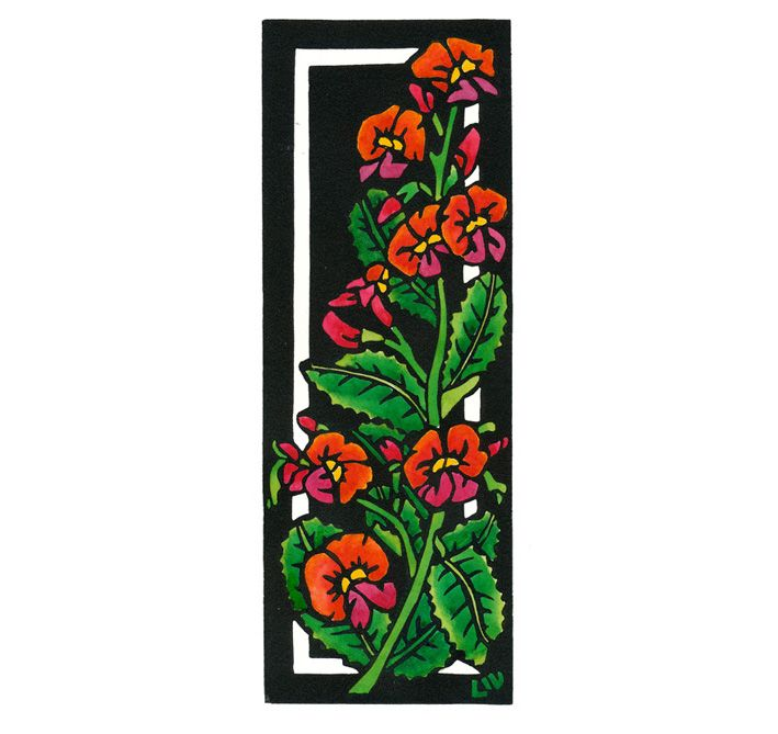 Flame Pea Deco - Art Deco inspired Limited Edition Handpainted Linocuts by Lynette Weir