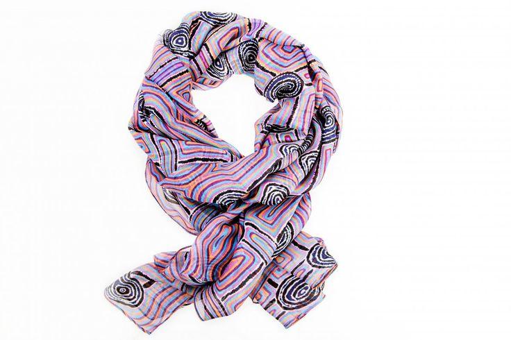 Womens Journey Cape Wrap - Digitally printed silk chiffon featuring authentic aboriginal dreamtime design