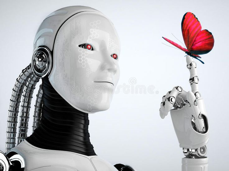 Robot android woman with butterfly. Technology background , #AD, #woman, #android, #Robot, #background,