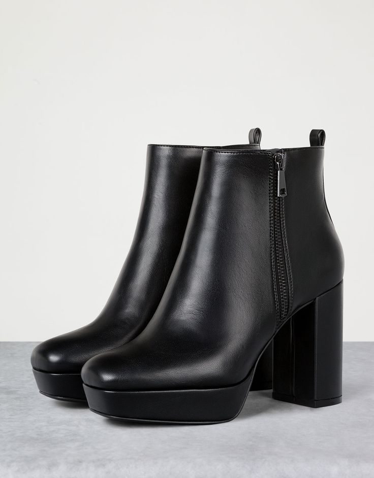 Wide heel platform ankle boots - View All - Bershka Romania