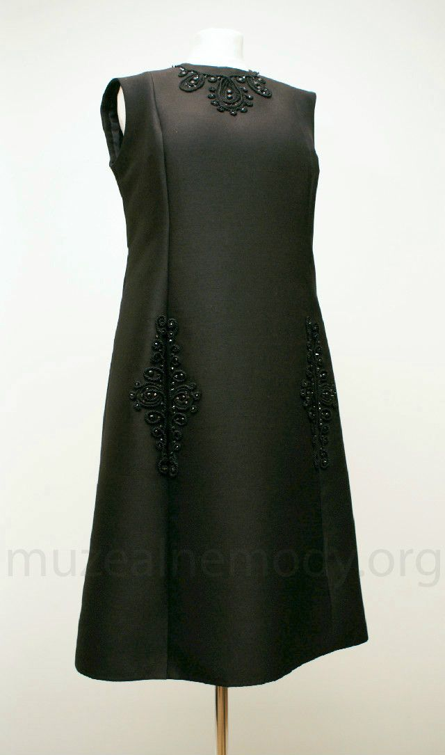 JEAN PATOU couture dress, 1960s. wool decorated with cord and beads