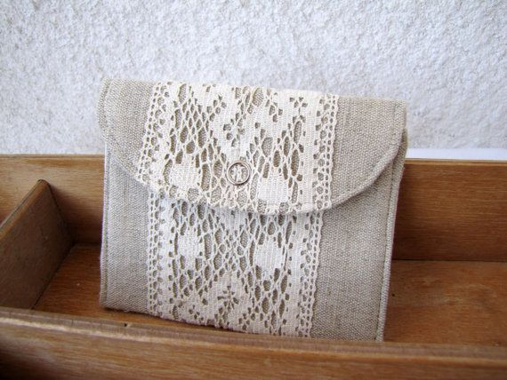 mini wallet  with natural linen and vintage lace by HelloVioleta