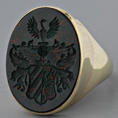 Men's antique Victorian intaglio crest