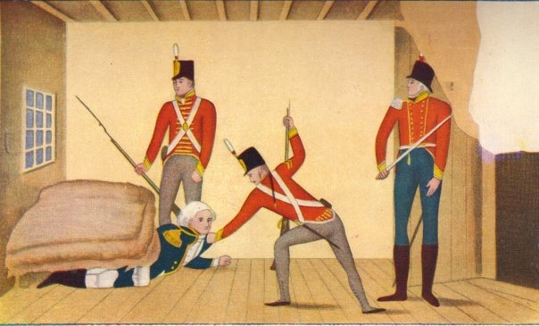 The first ever Aust. political cartoon, showing the arrest of Gov. William Bligh (yes, he of the Mutany on the Bounty infamy)...in 1808 in a military coup known as the Rum Rebellion