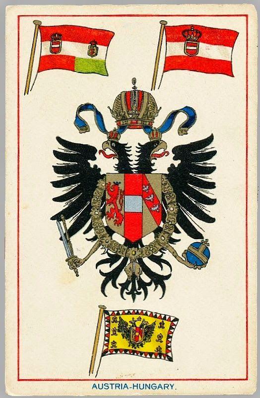 Armoiries et drapeaux de l'Autriche-Hongrie en 1914  carte cadeau publicitaire d'époque.