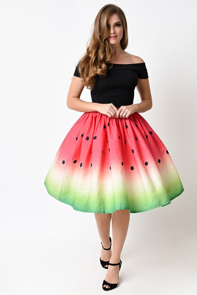 096ebc4401bac Unique Vintage 1950s High Waist Watermelon Circle Swing Skirt - not  technically a dress but ridiculously cute