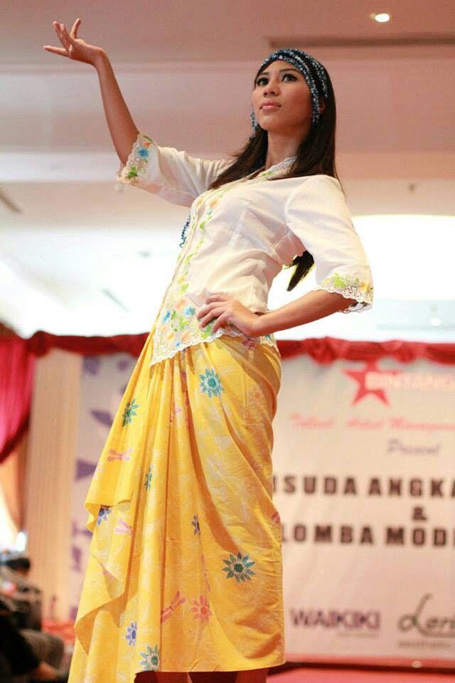 Modern style. Kebaya encim with batik encim.