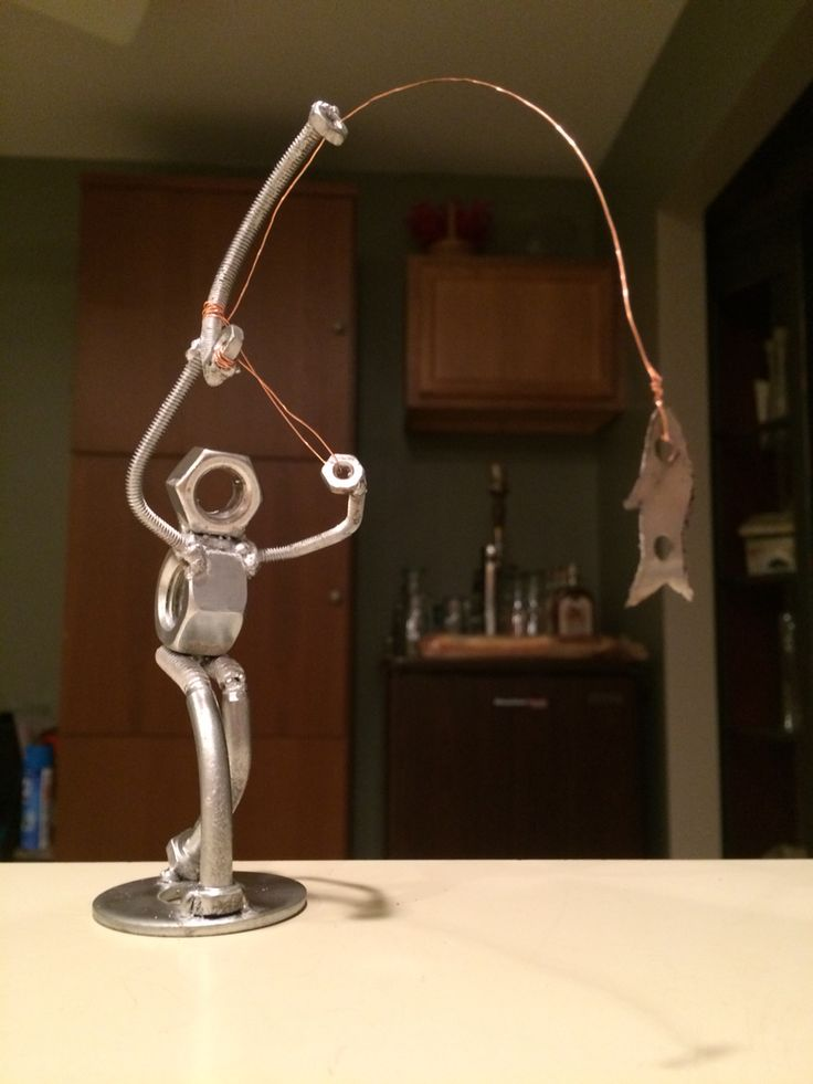 Fly fisherman made from nuts and bolts
