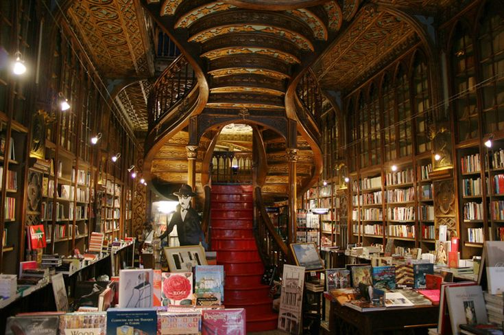 "Livraria Lello - Porto Portugal - the cool ""360 View"" on their website makes you want to go there now!!"