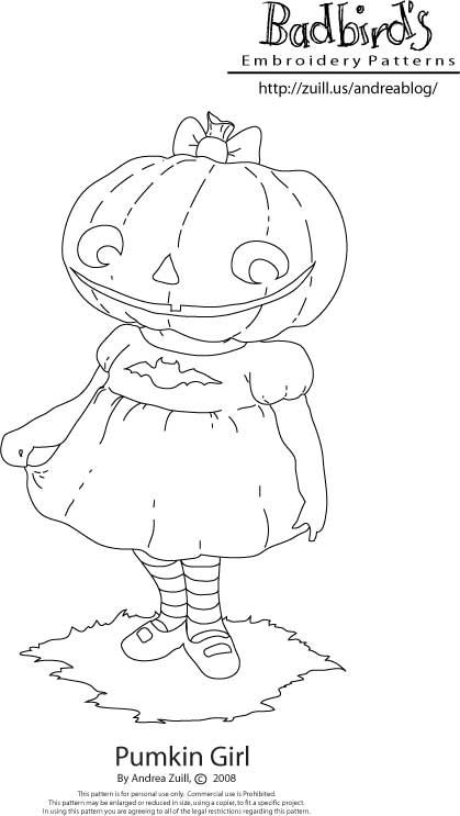 pumkin girl free pattern by andrea zuill aka badbird - Halloween Hand Embroidery Patterns