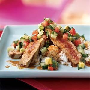 Grilled Tuna with Chipotle Ponzu and Avocado Salsa | MyRecipes.com