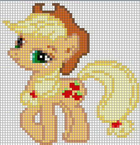 Free my little pony cross stitch   Applejack Sprite by ~Bobbeyjazz on deviantART