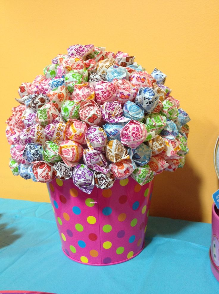 DumDum tree made from old Easter bucket a foam ball and four bags of lollipops.  Daughter's 3 yr old Lalaloopsy Party