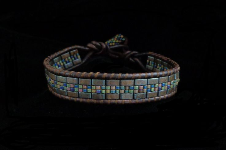 Brown Leather Wrap Bracelet with Half Tila Beads and by beadbound