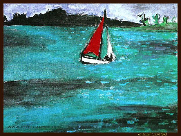 Jozef CZAPSKI - Red sailing boat