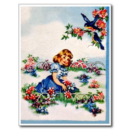 """Zoete Meisje en Sialia - Retro Gelukkige Briefkaart van de Verjaardag De vintage Retro Kaarten van de Verjaardag voor alle leeftijden.   De grappige, Leuke, Gelukkige Kaarten van de Verjaardag voor kinderen, meisjes en jongens, mamma's en dads, grootmoeder en grootvader, broers en zusters, tantes en ooms, neven… en voor vrienden.  Alle kaarten zijn hersteld, de hersteld de smetten, vlekken en de scheur. Personaliseer als u door te gebruiken """"aanpast het"""" knoop dit wenst. Wij hopen u van ons…"""