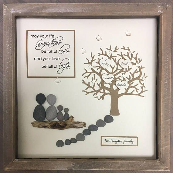 Pebble Art Family Tree, Gallery Wall Home Decor Hand Made