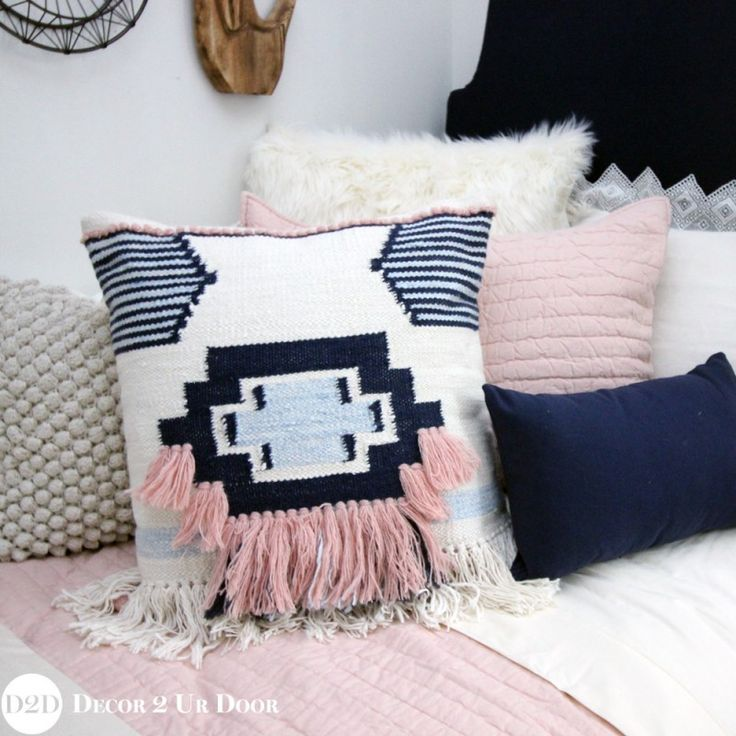 magnolia home by joanna gaines ward accent pillow cover in pinknavy