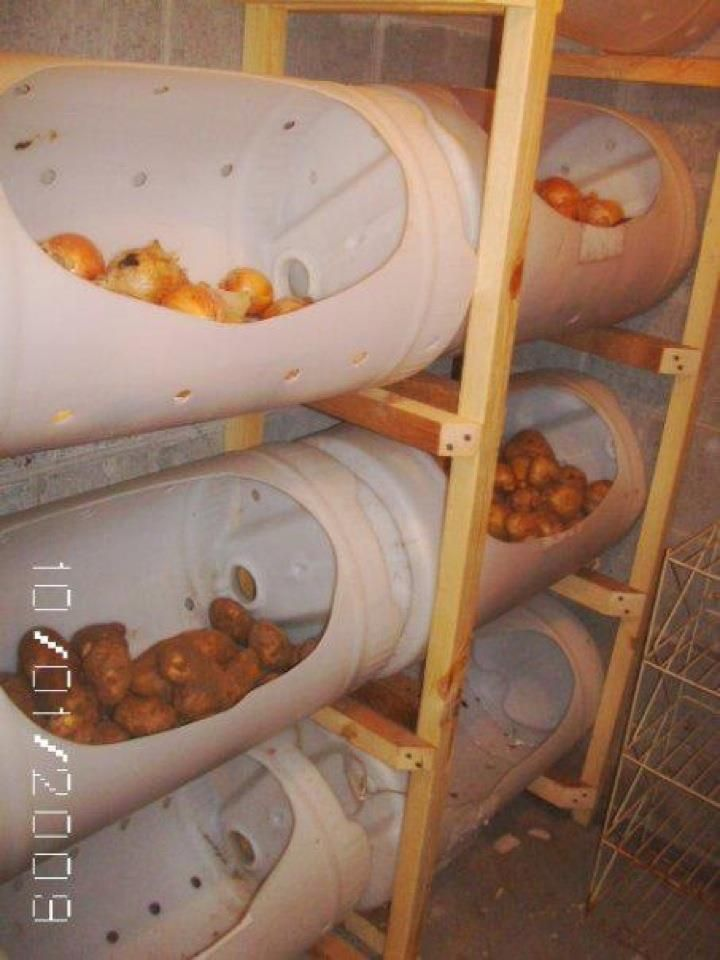Easy Homestead: Bucket Storage for Vegetable.....wish I had a place like this to store my garden goodies