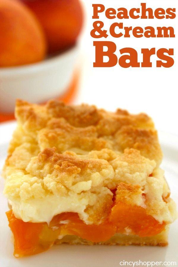 Melocotones y Bares Cream - receta súper simple que se puede hacer con duraznos frescos o enlatados.  Grande para una barbacoa de verano o por la noche postre.