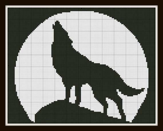 Cross Stitch Pattern Wolf and the moon Silhouette Handmade Black and White pdf