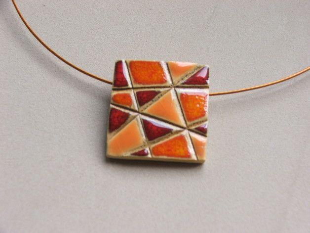 Keramikanhänger - Keramik Anhänger orange-rot - ein Designerstück von Keramik-Werkelkeller bei DaWanda