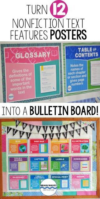 Nonfiction Text Features Posters and Bulletin Board. A step by step guide to creating your own for your classroom.