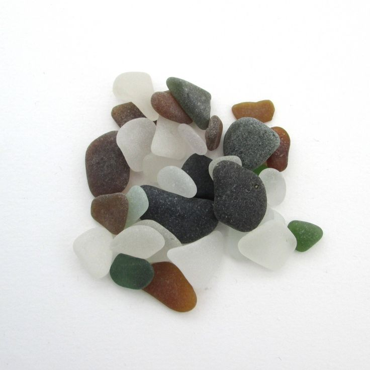 English beach glass, Cornish sea glass, Surf tumbled glass, eco craft supply, jewelry making supplies, 30 frosted pieces, UK collector by BlueBoxStudio on Etsy