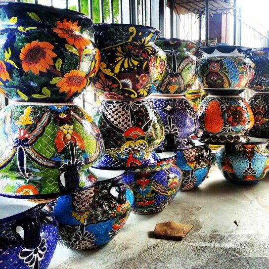 Delightful Mexican Garden Talavera Planter Pots $75 Barrioantiguofurniture.com