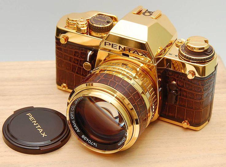 A #luxury gold Pentax camera