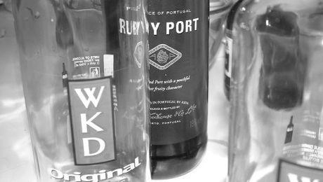 Cheeky Vimto. One bottle blue WKD, two shots port